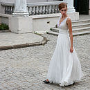 Embroidered V Neck Wedding Dress