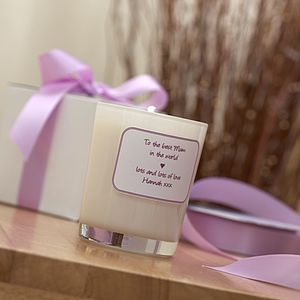Personalised Mother's Day Natural Candle - lighting