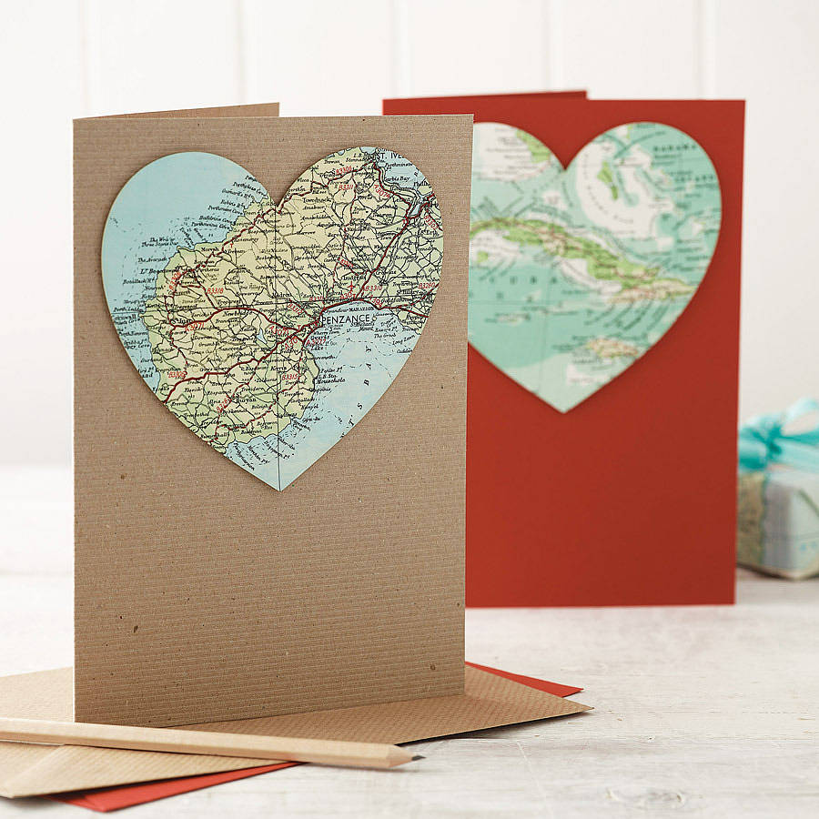 personalised map wedding and anniversary heart card by bombus ...