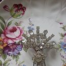 Vintage Diamante Floral Brooch