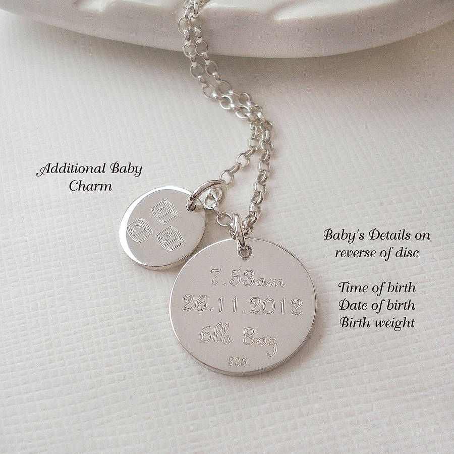 Relatively personalised silver new baby necklace by mia belle  XN07
