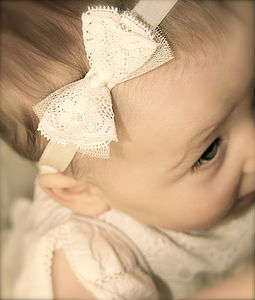 Amber Silk Lace Bow Flower Girl, Christening Headband - clothing