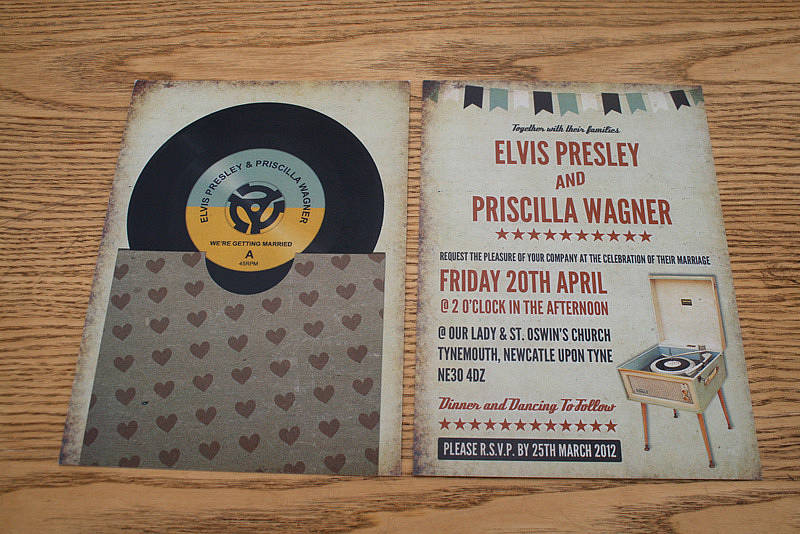 Vinyl Record Music Themed Wedding Invitation
