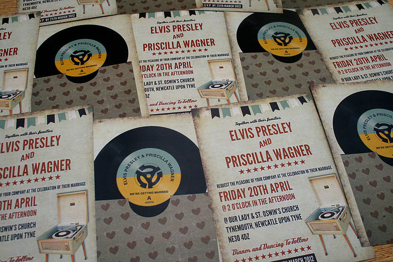 vinyl record music themed wedding invitation by magik moments
