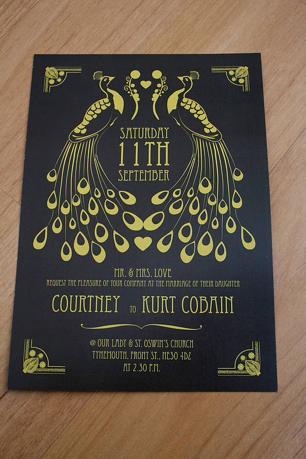 Peacock Art Deco Wedding Invitation By Magik Moments