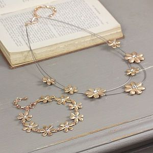 Rose Gold Daisy Gem Jewellery Set - women