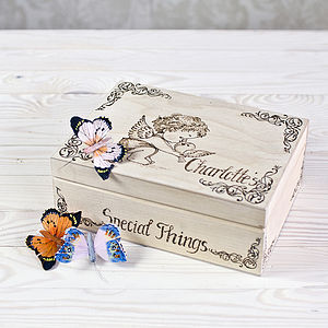 Angel And Dove Personalised Keepsake Box - keepsake boxes