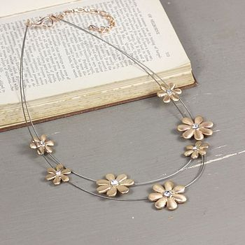 Rose Gold Daisy Gem Necklace
