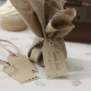 Pack Of 10 Scallop Edged Brown Kraft Tags - wedding favours