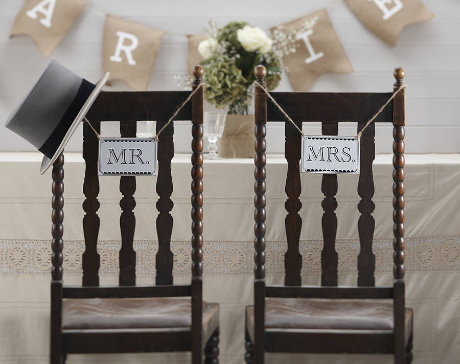 vintage style mr and mrs wedding signs by ginger ray ...