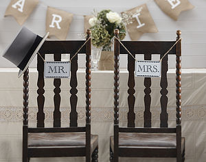 Vintage Style 'Mr And Mrs' Wedding Signs - chair decoration