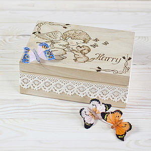 Angel And Puppy Personalised Keepsake Box