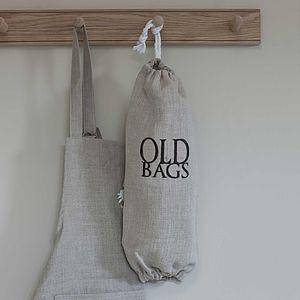Linen 'Old Bags' Holder Dark Grey - kitchen accessories