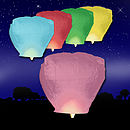 Five Multi-Coloured Sky Lanterns