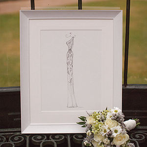 Pen And Ink Wedding Dress Portrait - drawings & illustrations