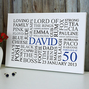 Personalised 50th Birthday Word Art Print - canvas prints & art