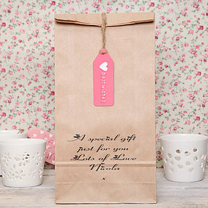 Personalised Message And Tag Gift Bag - ribbon & wrap