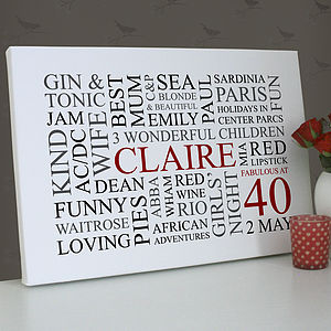 Personalised 40th Birthday Word Art Print - canvas prints & art