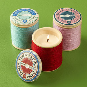 Ceramic Spool Scented Candle - candles & candlesticks