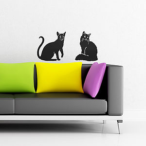 Homely Cat Vinyl Wall Stickers - children's room accessories