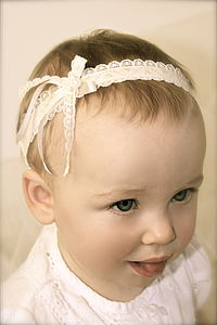 Hearts Vintage Lace Flower Girl Baby Headband - clothing