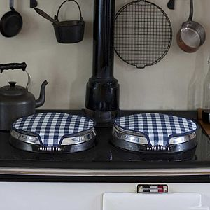 Magnetic Range Lid Covers Navy Check - kitchen accessories