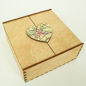 Wooden Map Heart Box - gifts by budget