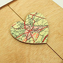 Wooden Map Heart Box