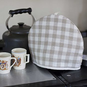 Linen Tea Cosy Ecru Check