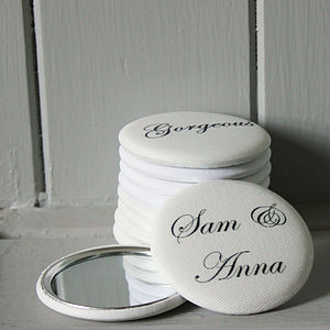 Pack Of 10 Personalised Wedding Favour Mirrors - wedding favours