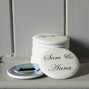 Pack Of 10 Personalised Wedding Favour Bottle Openers