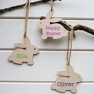 Personalised Wood Easter Bunny Tag Decoration - easter home