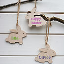 Personalised Wood Easter Bunny Tag Decoration