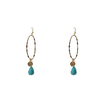 Turquoise Hoop Drop Earrings