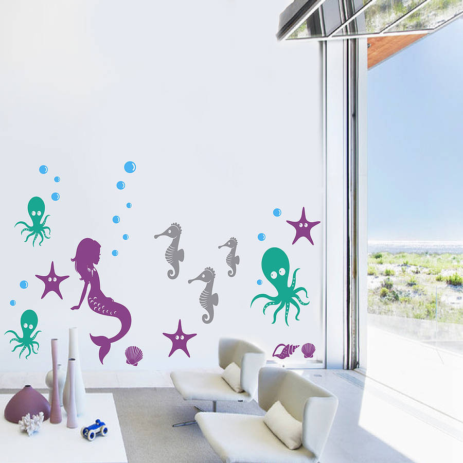 underwater sea creature wall sticker pack by snuggledust studios