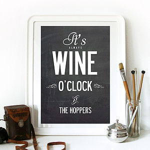'It's Wine O'Clock' Personalised Print - art & pictures