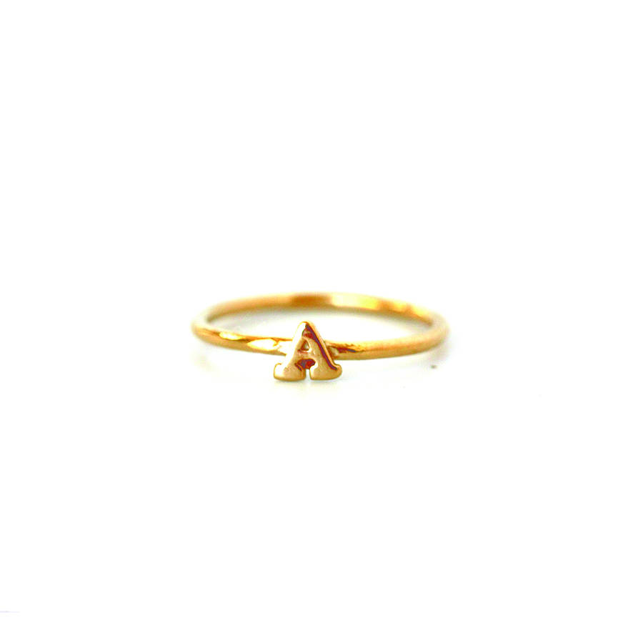 Well-known 18k gold plated sterling silver initial ring a to z by chupi  SR46