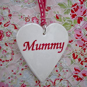 Porcelain 'Mummy' Heart Decoration - hanging decorations