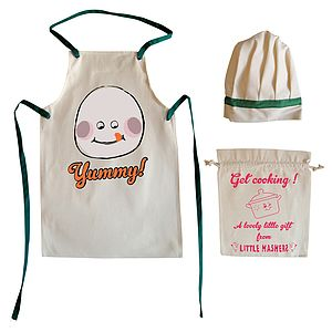 'Yummy' Child's Apron And Chef Hat Set