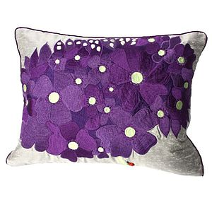 Purple And Steel Floral Embroidered Cushion