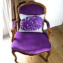 Purple And Steel Floral Emnbroidered Cushion