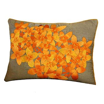 Orange And Mocha Floral Embroidered Cushion