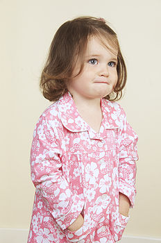 Girl's Floral Pyjamas With Matching Bag