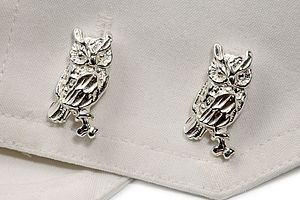 Silver Owl Cufflinks - men's accessories