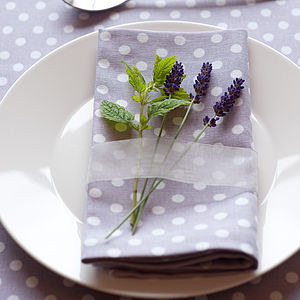Lavender Polka Dot Napkins Set Of Four - bed, bath & table linen