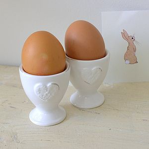 Pair Of Embossed Heart Egg Cups - ceramics