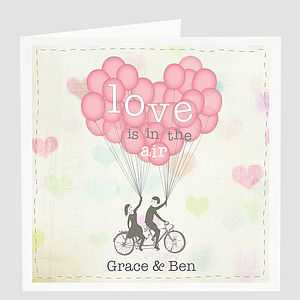 Personalised 'Love Is In The Air' Card - wedding stationery