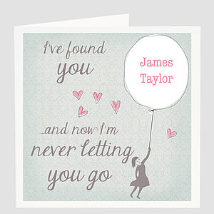Personalised Love Balloon Card - engagement cards