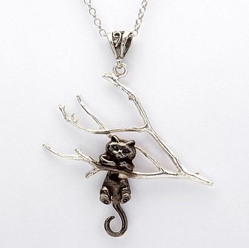 Silver Swinging Black Cat Pendant