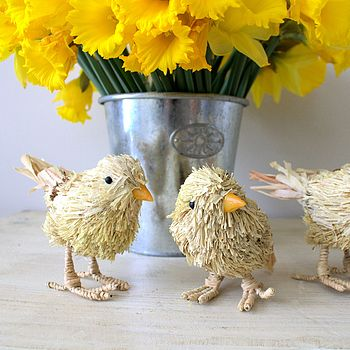 Set Of Three Easter Bristle Chicks